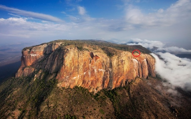 Aerial of Mount Ololokwe, the red circle shows our campsite. Photo Credit : Marcus Harvey  Photo Credit